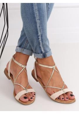 Módne dámske sandále béžovej farby so zlatými pásikmi