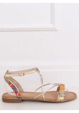 Oranžové módne sandále so zlatými pásikmi pre dámy
