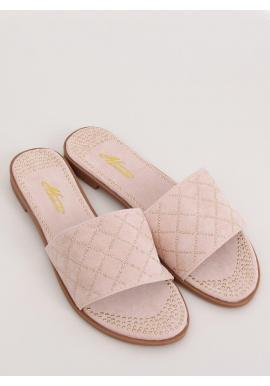 Semišové dámske šľapky ružovej farby s vybíjaním