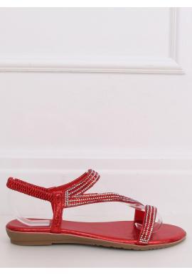 Dámske asymetrické sandále s kamienkami v červenej farbe