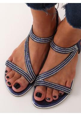 Asymetrické dámske sandále tmavomodrej farby s kamienkami