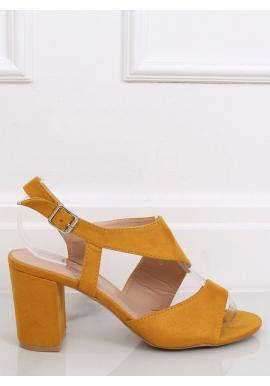 Žlté semišové sandále na stabilnom opätku pre dámy