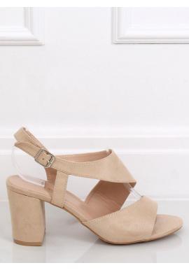 Dámske semišové sandále na stabilnom opätku v béžovej farbe
