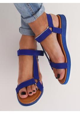 Módne dámske sandále tmavomodrej farby so suchým zipsom
