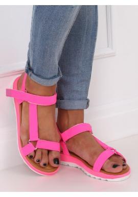Dámske módne sandále so suchým zipsom v ružovej farbe