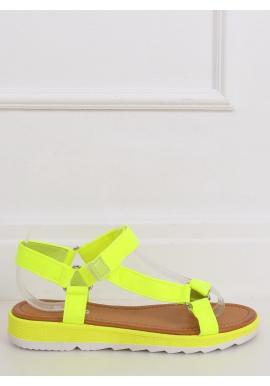 Módne dámske sandále žltej farby so suchým zipsom