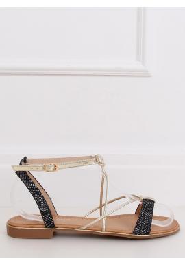 Čierne štýlové sandále so zlatými doplnkami pre dámy