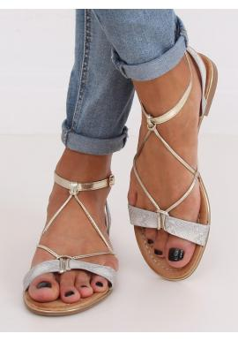 Dámske štýlové sandále so zlatými doplnkami v striebornej farbe