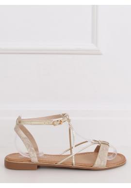 Štýlové dámske sandále zlatej farby so zlatými doplnkami