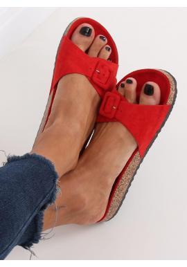 Dámske semišové šľapky s korkovou podrážkou v červenej farbe