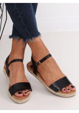 Čierne módne sandále s motívom krokodílej kože pre dámy
