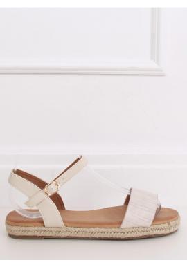 Dámske módne sandále s motívom krokodílej kože v béžovej farbe