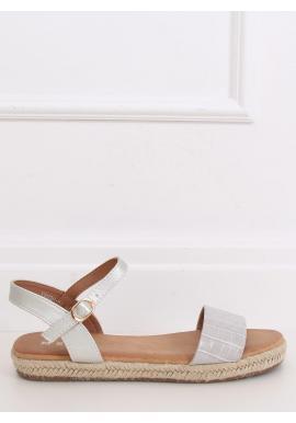 Módne dámske sandále sivej farby s motívom krokodílej kože