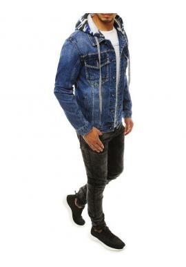 Pánska rifľová bunda s odopínacou kapucňou v modrej farbe