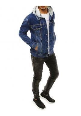 Rifľová pánska bunda modrej farby s odopínacou kapucňou