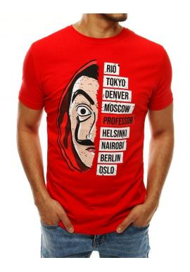 Pánske módne tričko s potlačou v červenej farbe