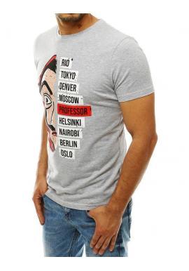 Módne pánske tričko svetlosivej farby s potlačou