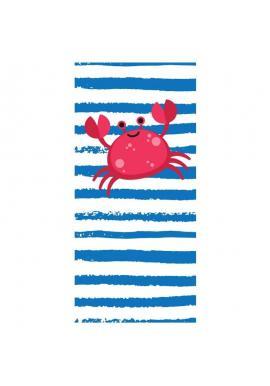 Modro-biely plážový ručník s motívom kraba