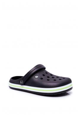 Pánske gumené kroksy so zeleným lemom v čiernej farbe