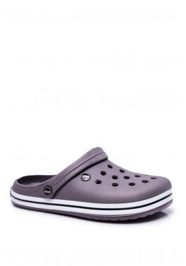 Sivé gumené kroksy s dierami pre pánov