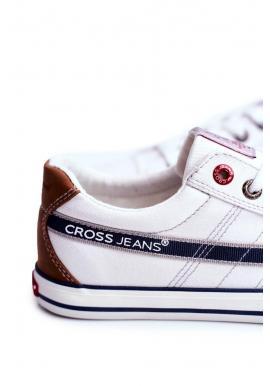 Plátené pánske tramky Cross Jeans bielej farby