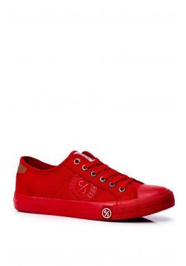 Plátené pánske tramky Cross Jeans červenej farby