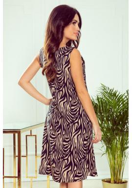 Béžové lichobežníkové šaty s motívom zebry pre dámy