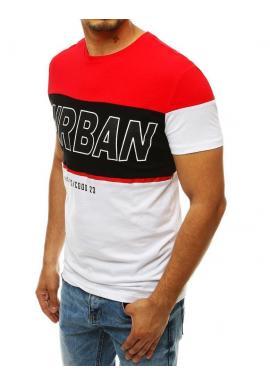 Pánske bavlnené tričko s potlačou v bielo-červenej farbe