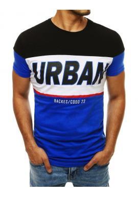 Bavlnené pánske tričko modro-čiernej farby s potlačou