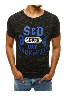 Čierne vzorované tričko s potlačou pre pánov