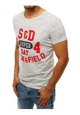 Pánske vzorované tričko s potlačou v bielej farbe