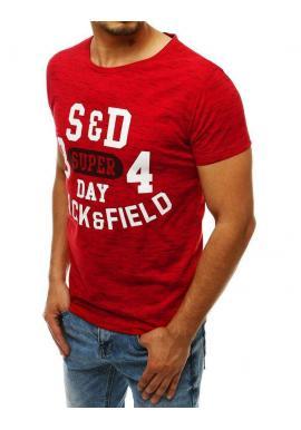 Vzorované pánske tričká červenej farby s potlačou