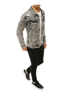 Tmavosivá rifľová bunda s odopínacou kapucňou pre pánov