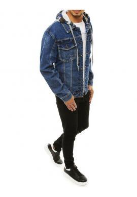 Pánska rifľová bunda s teplákovou kapucňou v modrej farbe