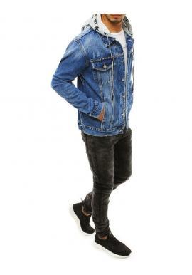Rifľová pánska bunda svetlomodrej farby s odopínacou kapucňou