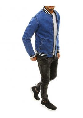 Rifľová pánska bunda modrej farby so stojacím golierom