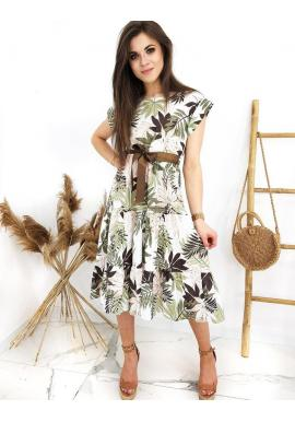 Dámske dlhé letné šaty s motívom listov v bielo-zelenej farbe