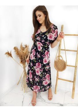 Dlhé dámske šaty čiernej farby s kvetovanou potlačou