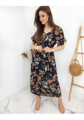 Čierne dlhé šaty s kvetovanou potlačou pre dámy