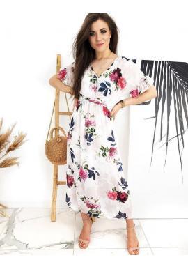 Dámske dlhé šaty s kvetovanou potlačou v bielej farbe