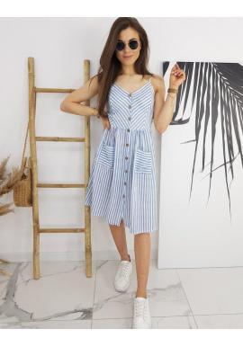 Pásikavé dámske šaty modro-bielej farby na leto