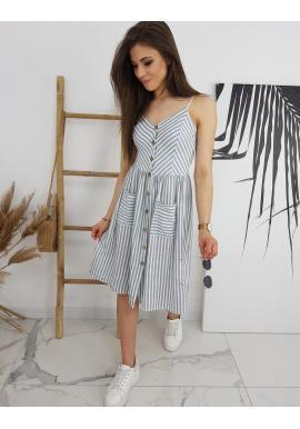 Sivo-biele pásikavé šaty na leto pre dámy