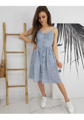 Dámske pásikavé šaty na leto v modro-bielej farbe