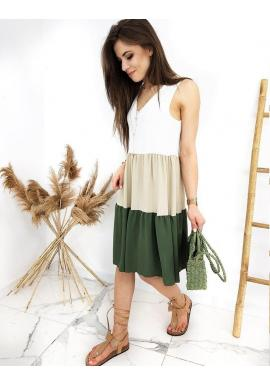 Letné dámske šaty zeleno-bielej farby bez rukávov