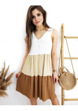 Hnedo-biele letné šaty bez rukávov pre dámy