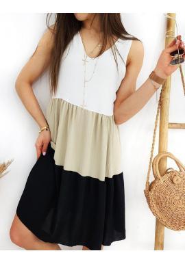 Dámske letné šaty bez rukávov v čierno-bielej farbe