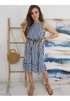 Pásikavé dámske šaty modro-bielej farby s viazaním vzadu