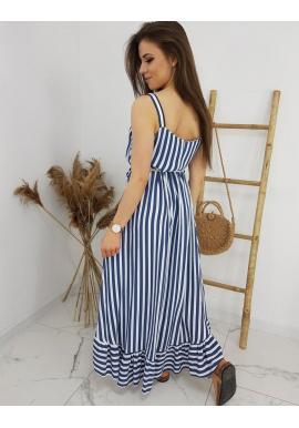 Dámske dlhé pásikavé šaty na ramienka v modro-bielej farbe