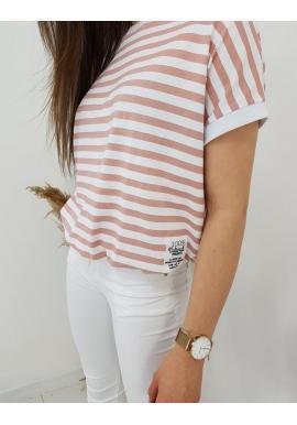 Klasické dámske tričko ružovo-bielej farby s pásikmi