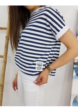 Dámske klasické tričko s pásikmi v modro-bielej farbe